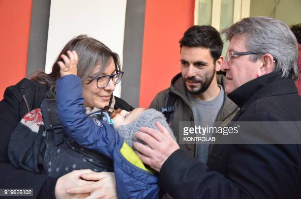 JeanLuc Melenchon leader of France Insoumise before the press conference organized by italian leftist party Potere al Popolo talk to a young mother...