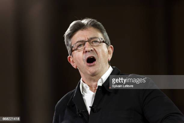 JeanLuc Melenchon of the French far left Parti de Gauche and candidate for the 2017 French presidential election attends a political rally on April...