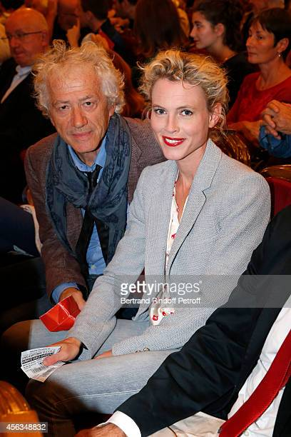 JeanLuc Moreau and his wife Mathilde Penin attend the tribute to Gisele Casadesus celebrating her 100th anniversary at Theatre Edouard VII on...