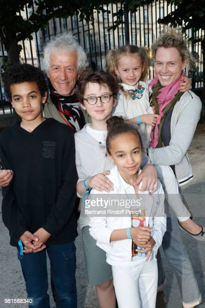 JeanLuc Moreau his wife Mathilde Penin and their children attend the Fete Des Tuileries on June 22 2018 in Paris France