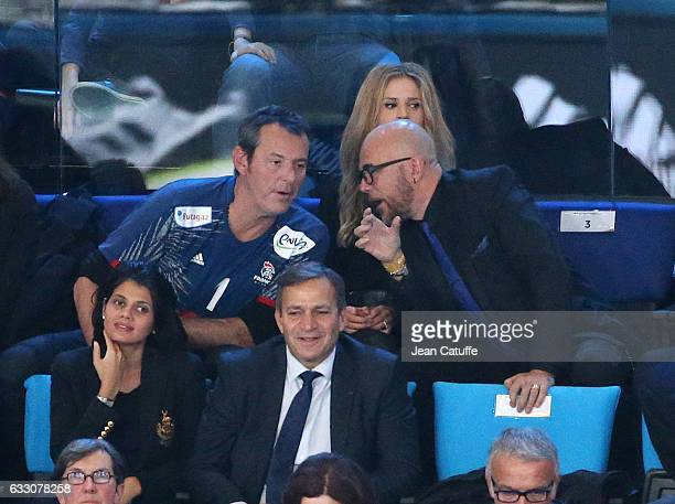 JeanLuc Reichmann and Pascal Obispo attend the 25th IHF Men's World Championship 2017 Final between France and Norway at Accorhotels Arena on January...