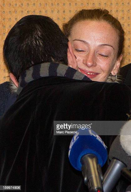 JeanLuc Romero and Florence Cassez attend a Press conference following her release from prison in Mexico at CharlesdeGaulle airport on January 24...