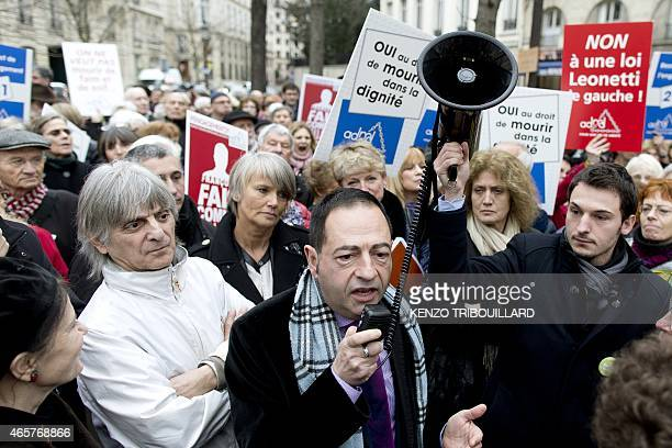 JeanLuc Romero president of the Association for the Right to Die in Dignity speaks on March 10 2015 in support of the legalization of euthanasia...