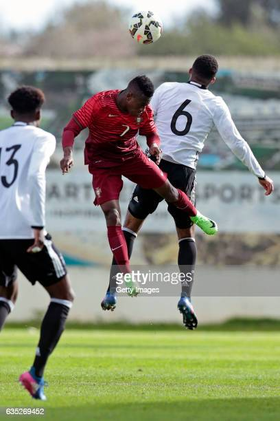 JeanManuel Mbom of Germany U17 challenges Afonso Sousa of Portugal U17 during the U17 Algarve Cup Tournament Match between Portugal U17 and germany...