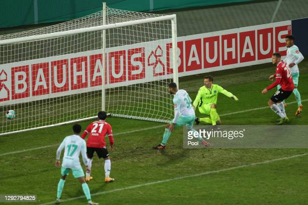 Jean-Manuel Mbom of SV Werder Bremen scores their sides third goal during the DFB Cup second round match between Hannover 96 and SV Werder Bremen at...
