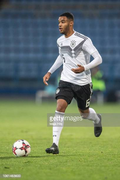 JeanManuel Mbomd of Germany controls the ball during the Germany U19 against Portugal U19 match of UEFA Four Nations Tournament on November 14 2018...