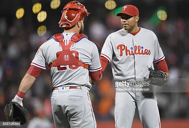 Jeanmar Gomez and Cameron Rupp of the Philadelphia Phillies celebrates defeating the San Francisco Giants 32 at ATT Park on June 25 2016 in San...