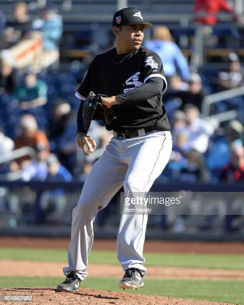 Jeanmar Gomez of the Chicago White Sox pitches during the game against the Seattle Mariners on February 24 2018 at the Peoria Sports Complex in...
