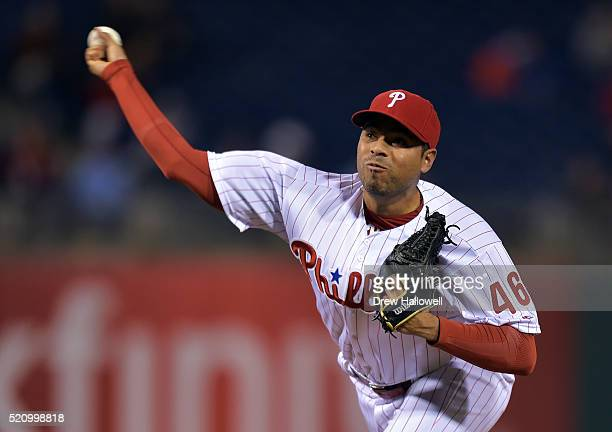 Jeanmar Gomez of the Philadelphia Phillies delivers a pitch in the ninth inning against the San Diego Padres at Citizens Bank Park on April 13 2016...