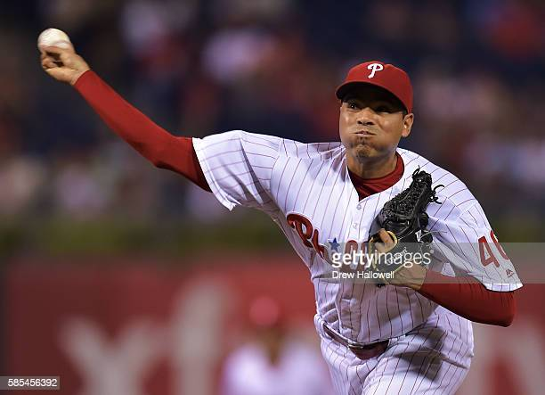 Jeanmar Gomez of the Philadelphia Phillies delivers a pitch in the ninth inning against the San Francisco Giants at Citizens Bank Park on August 2...