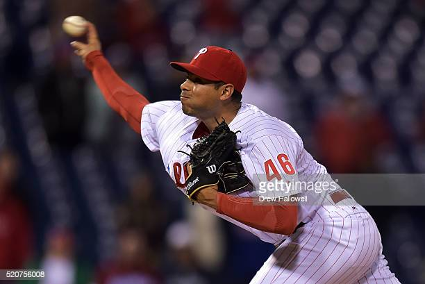 Jeanmar Gomez of the Philadelphia Phillies delivers pitch in the ninth inning against the San Diego Padres at Citizens Bank Park on April 12 2016 in...