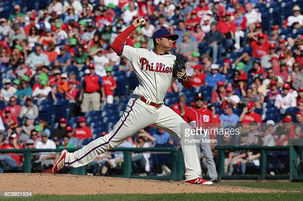Jeanmar Gomez of the Philadelphia Phillies during a game against the Washington Nationals at Citizens Bank Park on April 17 2016 in Philadelphia...