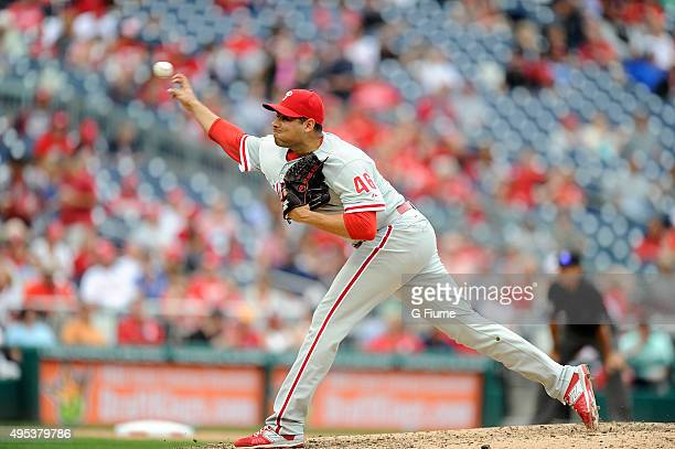 Jeanmar Gomez of the Philadelphia Phillies pitches against the Washington Nationals at Nationals Park on September 27 2015 in Washington DC