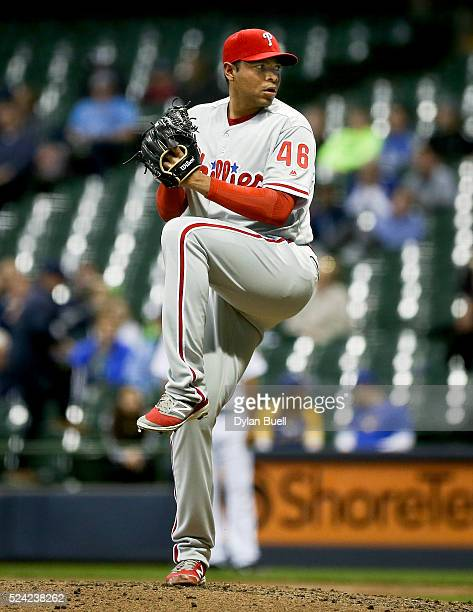 Jeanmar Gomez of the Philadelphia Phillies pitches against the Milwaukee Brewers at Miller Park on April 22 2016 in Milwaukee Wisconsin
