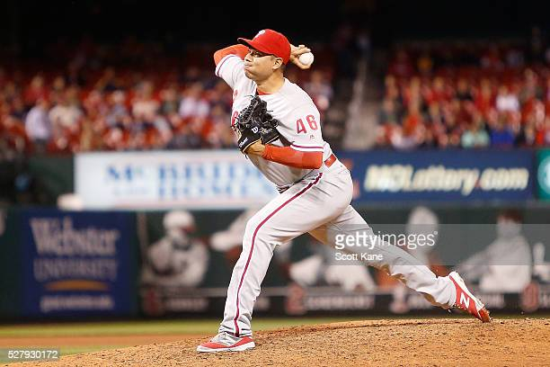 Jeanmar Gomez of the Philadelphia Phillies pitches during the ninth inning of a baseball game against the St Louis Cardinals at Busch Stadium on May...