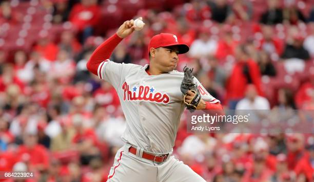 Jeanmar Gomez of the Philadelphia Phillies throws a pitch against the Cincinnati Reds on Opening Day for both team at Great American Ball Park on...