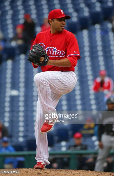 Jeanmar Gomez of the Philadelphia Phillies throws a pitch during a game against the Colorado Rockies at Citizens Bank Park on May 25 2017 in...
