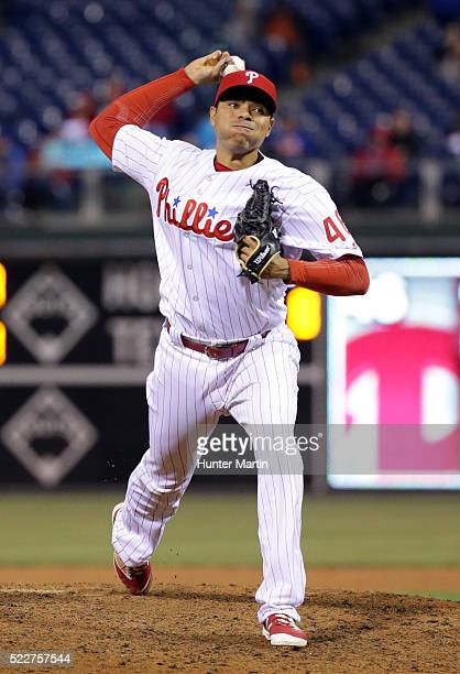 Jeanmar Gomez of the Philadelphia Phillies throws a pitch in the 10th inning during a game against the New York Mets at Citizens Bank Park on April...