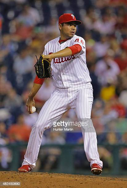 Jeanmar Gomez of the Philadelphia Phillies throws a pitch in the seventh inning during a game against the Atlanta Braves at Citizens Bank Park on...