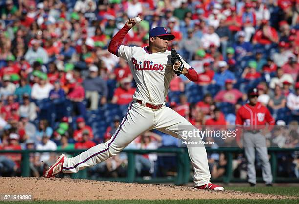 Jeanmar Gomez of the Philadelphia Phillies throws a pitch in the ninth inning during a game against the Washington Nationals at Citizens Bank Park on...