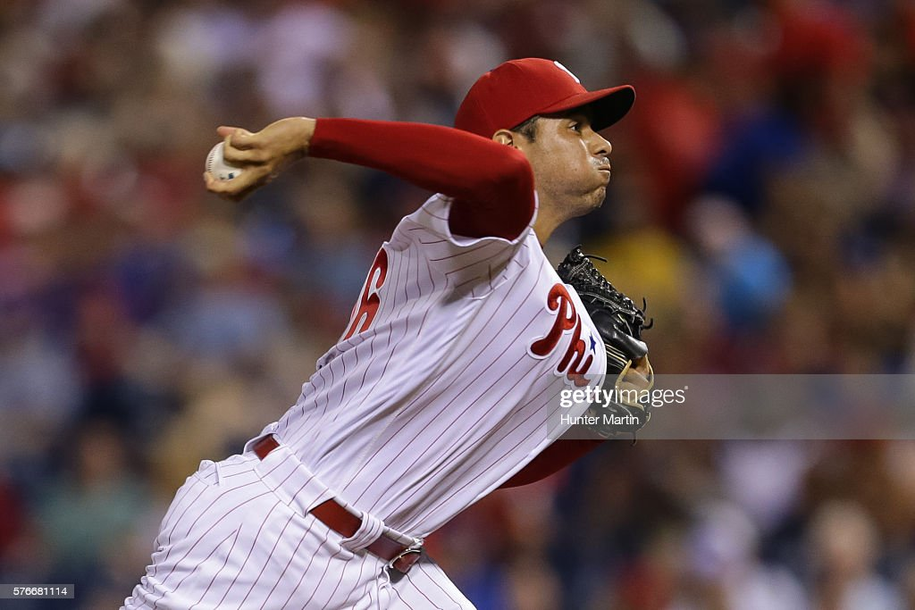 Jeanmar Gomez #46 of the Philadelphia Phillies throws a pitch in the ninth inning during a game against the New York Mets at Citizens Bank Park on July 16, 2016 in Philadelphia, Pennsylvania. The Phillies won 4-2.