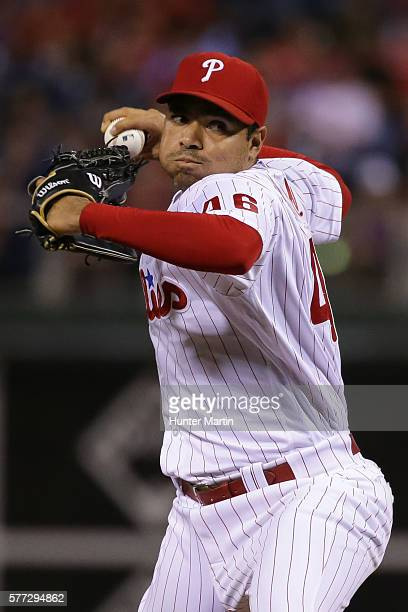 Jeanmar Gomez of the Philadelphia Phillies throws a pitch in the ninth inning during a game against the Miami Marlins at Citizens Bank Park on July...