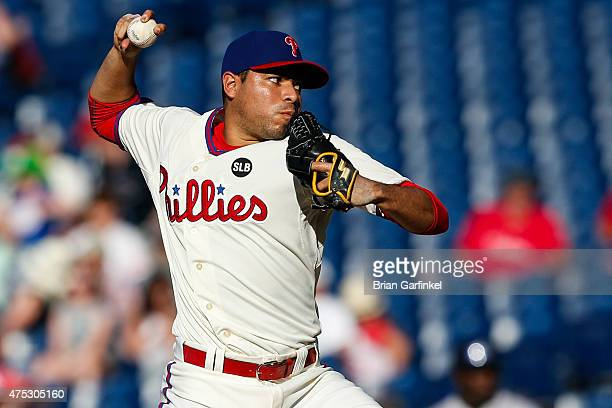 Jeanmar Gomez of the Philadelphia Phillies throws a pitch in the ninth inning of the game against the Colorado Rockies at Citizens Bank Park on May...