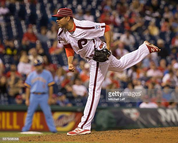 Jeanmar Gomez of the Philadelphia Phillies throws a pitch in the top of the ninth inning against the Milwaukee Brewers at Citizens Bank Park on June...