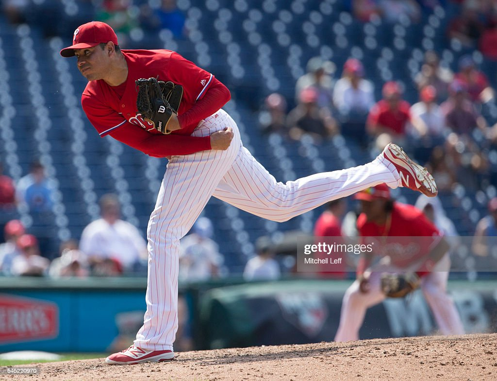 Jeanmar Gomez #46 of the Philadelphia Phillies throws a pitch in the top of the ninth inning against the Atlanta Braves at Citizens Bank Park on July 6, 2016 in Philadelphia, Pennsylvania. The Phillies defeated the Braves 4-3.