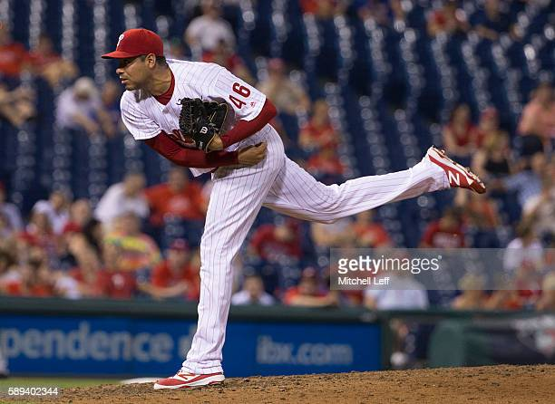Jeanmar Gomez of the Philadelphia Phillies throws a pitch in the top of the ninth inning against the Colorado Rockies at Citizens Bank Park on August...