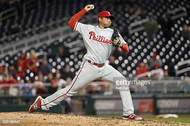 Jeanmar Gomez of the Philadelphia Phillies throws to a Washington Nationals batter in the ninth inning of the Phillies 30 win at Nationals Park on...