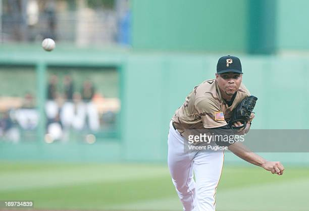 Jeanmar Gomez of the Pittsburgh Pirates pitches against the Houston Astros at PNC Park on May 17 2013 in Pittsburgh Pennsylvania