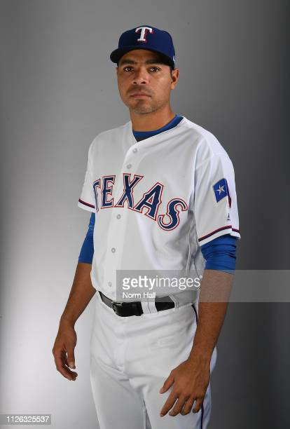 Jeanmar Gomez of the Texas Rangers poses for a portrait on photo day at Surprise Stadium on February 20 2019 in Surprise Arizona