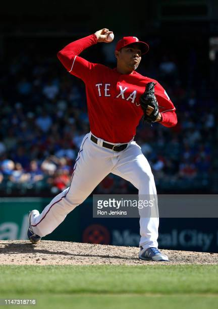 Jeanmar Gomez of the Texas Rangers throws against the Toronto Blue Jays during the eighth inning at Globe Life Park in Arlington on May 5 2019 in...
