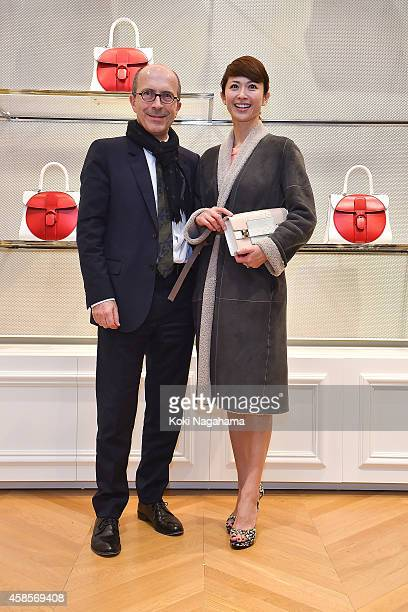 JeanMarc and HIroko Hatano attend the Delvaux Red Moon Party at Delvaux Omotesando on November 7 2014 in Tokyo Japan