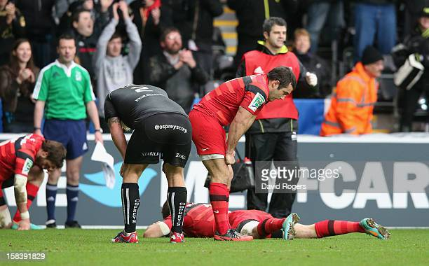 JeanMarc Doussain of Toulouse looks dejected after their defeat during the Heineken Cup match between Ospreys and Stade Toulouse at the Liberty...