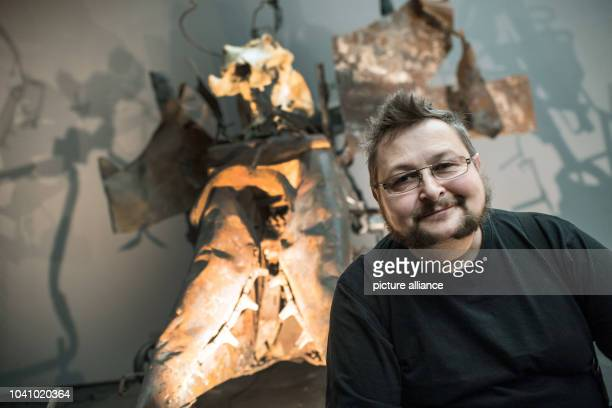 Jean-Marc Gaillard, restorer at the Tinguely Museum and former assistant of the artist, poses in front of the installation 'Mengele dance of death'...