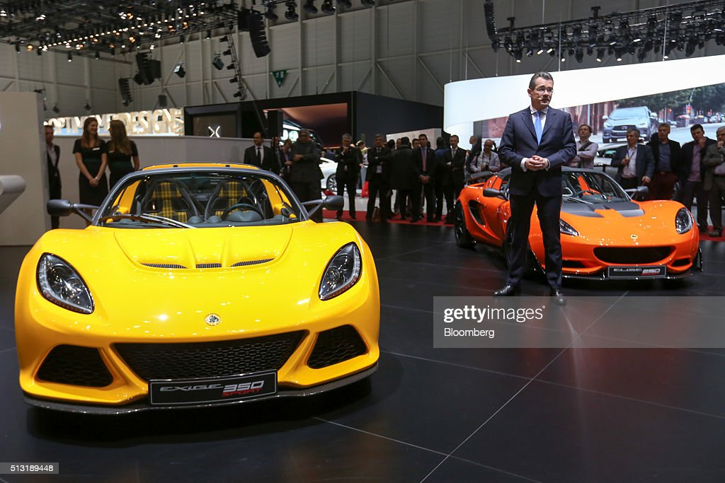 Jean-Marc Gales, chief executive officer of Group Lotus Plc, a luxury unit of Proton Holdings Bhd, speaks during a news conference on the first day of the 86th Geneva International Motor Show in Geneva, Switzerland, on Tuesday, March 1, 2016. The show opens to the public on March 3, and will showcase the latest models from the world's top automakers. Photographer: Chris Ratcliffe/Bloomberg via Getty Images