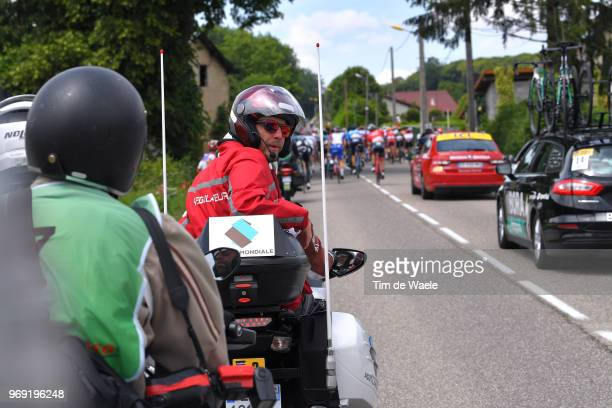 JeanMarc Marino of France Moto Regulator / during the 70th Criterium du Dauphine 2018 Stage 4 a 181km stage from ChazeysurAin to LansenVercors 1409m...