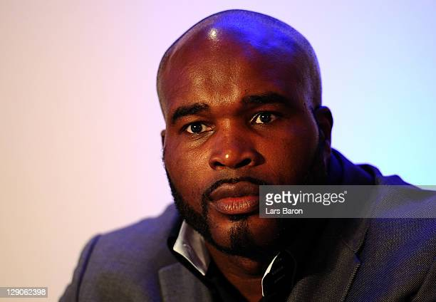 JeanMarc Mormeck of France looks on during a press conference at EspritArena on October 12 2011 in Duesseldorf Germany The WBO WBA IBF and IBO heavy...