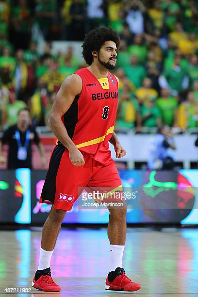 JeanMarc Mwema of Belgium reacts after scoring a basket during the FIBA EuroBasket 2015 Group D basketball match between Lithuania and Belgium at...