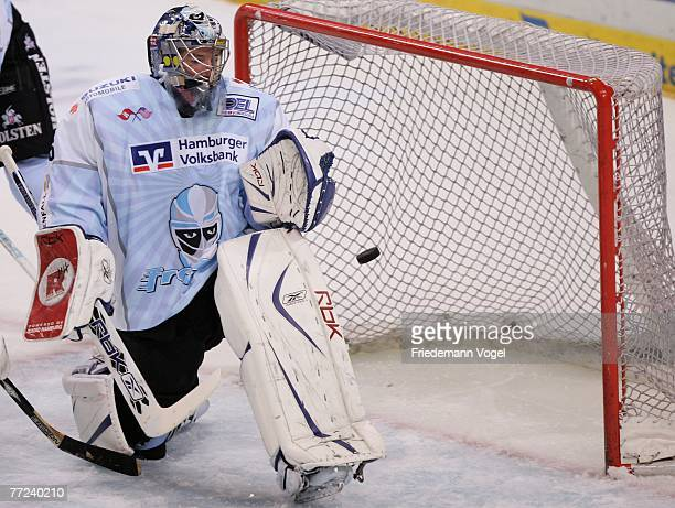 JeanMarc Pelletier of Hamburg cannot save the puck during the DEL match between Hamburg Freezers and Iserlohn Roosters at the Color Line Arena on...