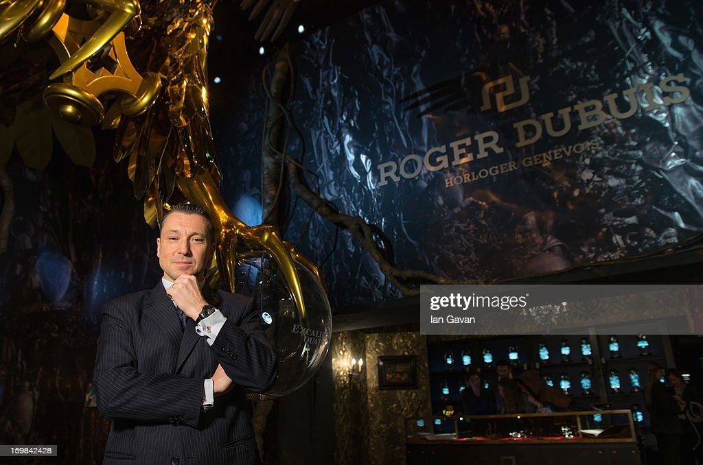 Jean-Marc Pontroue, CEO of Roger Dubuis poses in the Roger Dubuis booth during the 23rd Salon International de la Haute Horlogerie at the Geneva Palexpo on January 21, 2013 in Geneva, Switzerland.