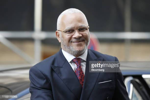 Jean-Marc Thystere, Republic of Congo's hydrocarbons minister, arrives for the 15th Joint Ministerial Monitoring Committee meeting in Vienna,...