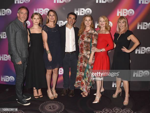 JeanMarc Valle Eliza Scanion Gillian Flynn Chris Messina Amy Adams Patricia Clarkson and Marti Noxon attend HBO Summer TCA 2018 at The Beverly Hilton...