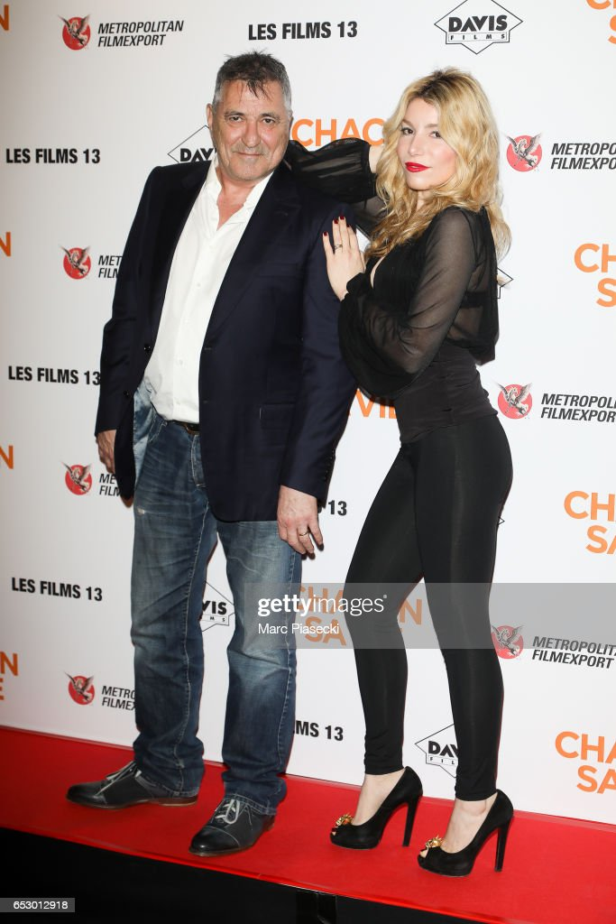 Jean-Marie Bigard and Lola Marois attend the 'Chacun sa vie' Premiere at Cinema UGC Normandie on March 13, 2017 in Paris, France.