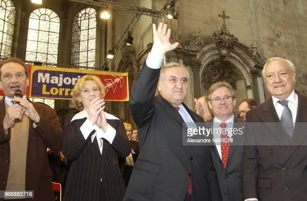 JeanMarie Demange lors du passage du Premier Minsitre JeanPierre Raffarin en Lorraine pour soutenir les tetes de listes UMP pour les elections...