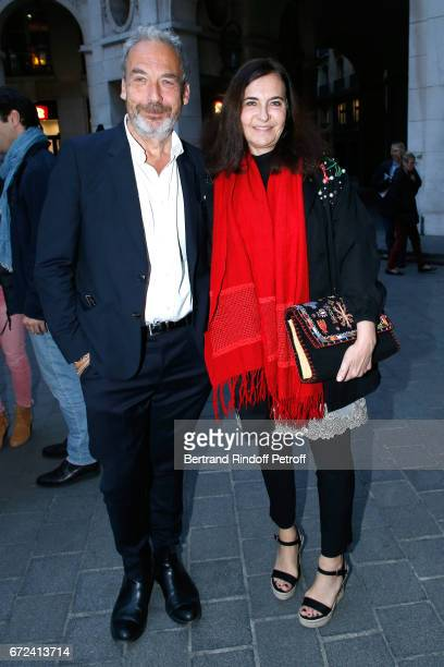 JeanMarie Duprez and Nathalie Garcon attend 'La Recompense' Theater Play at Theatre Edouard VII on April 24 2017 in Paris France