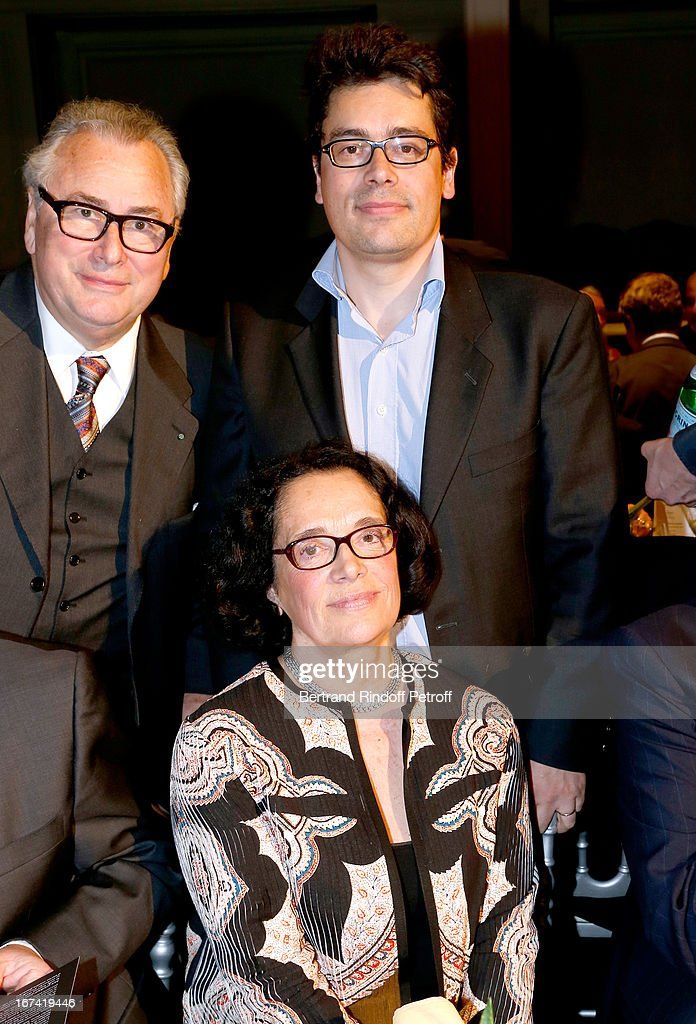 Jean-Marie Fournier (L) and wife Chantal (C) celebrate their 45 years of wedding, and their son Fabrice (R) attend Salle Gaveau 105th Anniversary on April 24, 2013 in Paris, France.