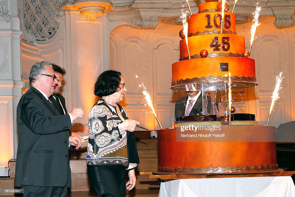 Jean-Marie Fournier (L) and wife Chantal (C) celebrate their 45 years of wedding while Salle Gaveau 105th Anniversary on April 24, 2013 in Paris, France.